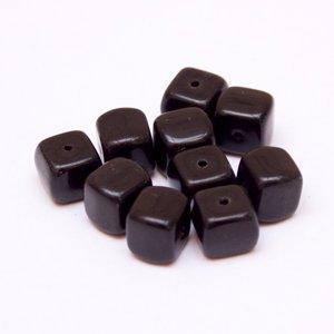 Cube 8x11mm Bead Opaque Black