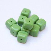 Cube 8x11mm Bead Opaque Green